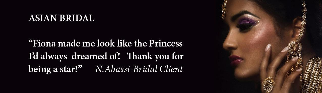 asian bridal hair and makeup london based Fiona Tanners Asian splash page with testimonial