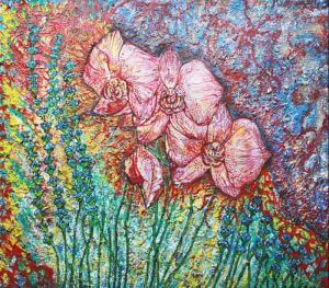 Study of orchids mixed medium with texture-fine artist London based Fiona Tanner