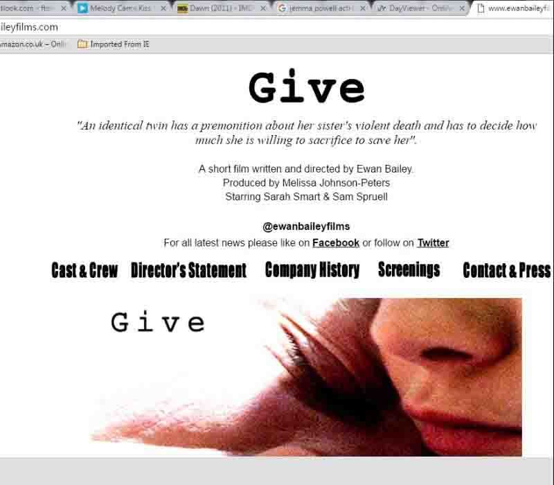 Give Short film by E.Bailey-London FT-hair/makeup and SFX
