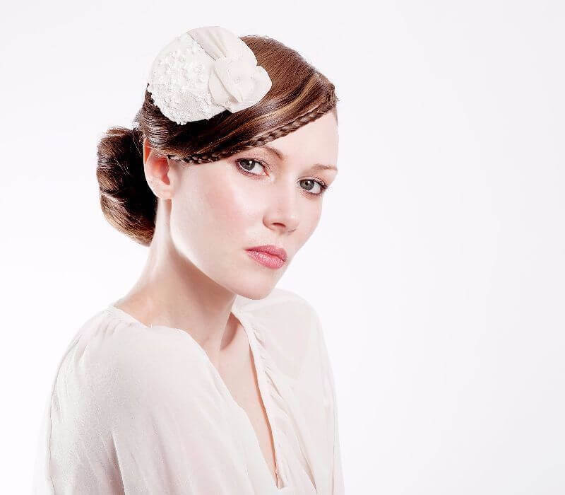 Vintage wedding hair and makeup London by Fiona Tanner in South East London for Catherine Elizabeth Hats