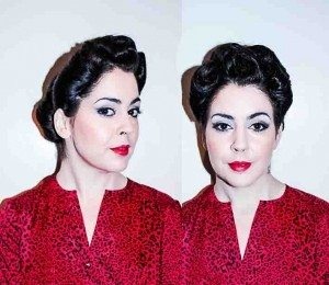 Vintage hair styling for lipstick and curls by FTMakeup1