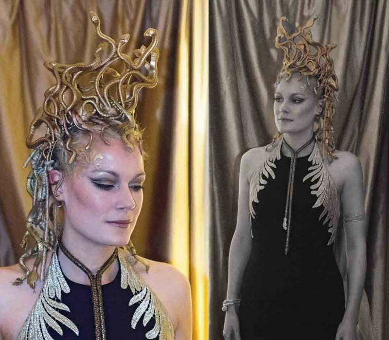 Theatrical makeup artist by Fiona Tanner medusa makeup and crafted hair piece