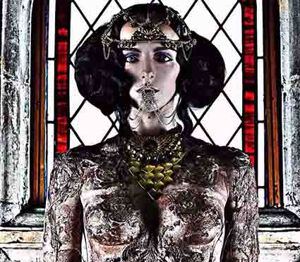 Creative Body Art based on art of the Byzantium by Freelance makeup artist london based FT