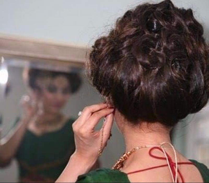 Asian hair artist fiona Tanner-Hair Trial up do with Edwardian Inspired
