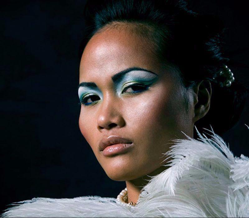 Burlesque makeup artist FT colourful makeup