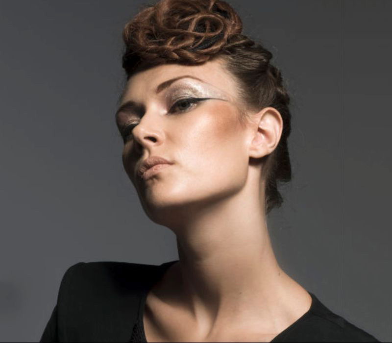 Fashion Makeup Look for Eyola Designs by makeup artist Fiona Tanner South East with hair piece