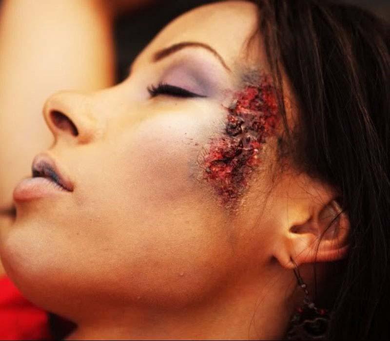 SFX CLOSE UP gun shot wound dead girl by Special effects makeup Fiona Tanner