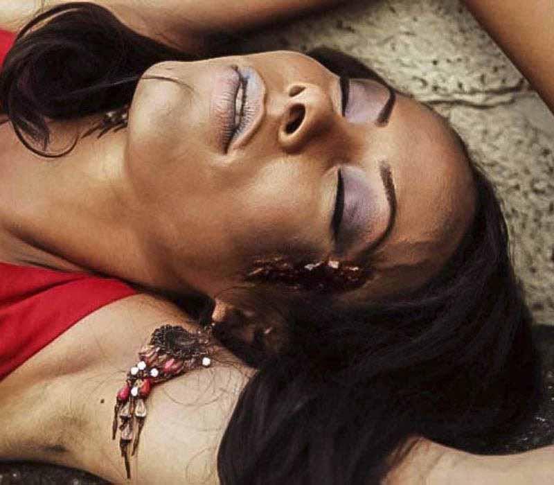 SFX CLOSE UP gun shot wound dead girl by makeup artist Fiona Tanner2