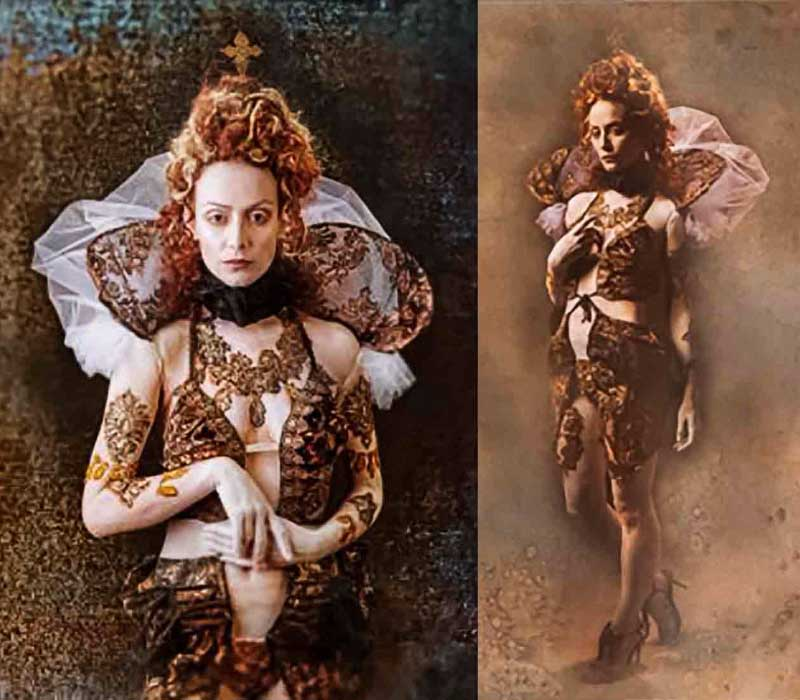 Theatrical makeup by Fiona Tanner QUEEN ELIZABETH costume and hair design