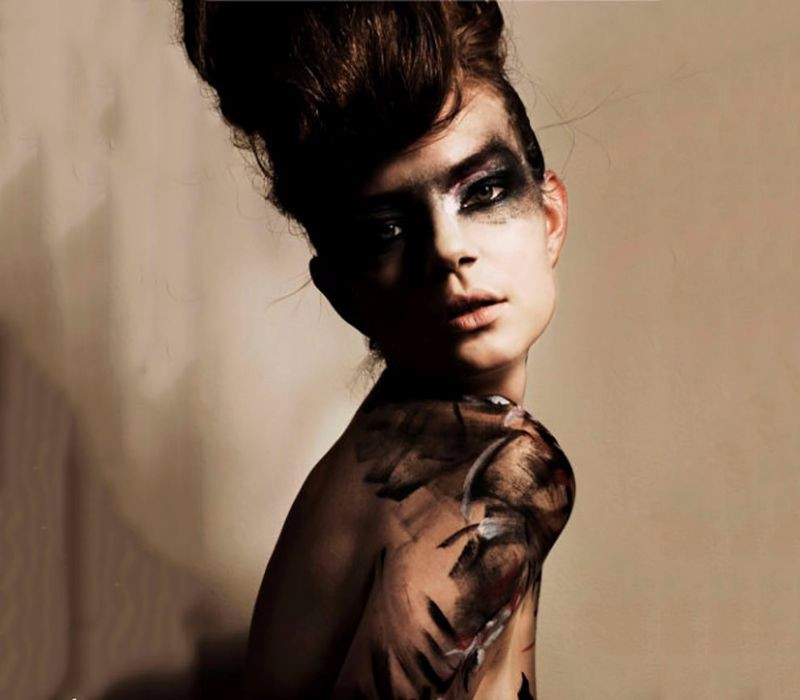 body painting London services by Fiona Tanner abstract designs with hair