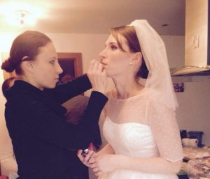 Fiona doing Emmas bridal makeup 2015