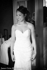 Black and white photo for Rosy Tu 2017 wedding by Asian bridal makeup artist Fiona Tanner