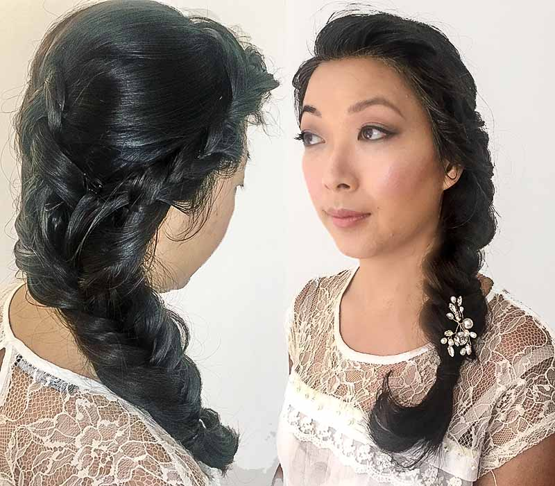 Bridal braided hair and makeup at ftmakeup London