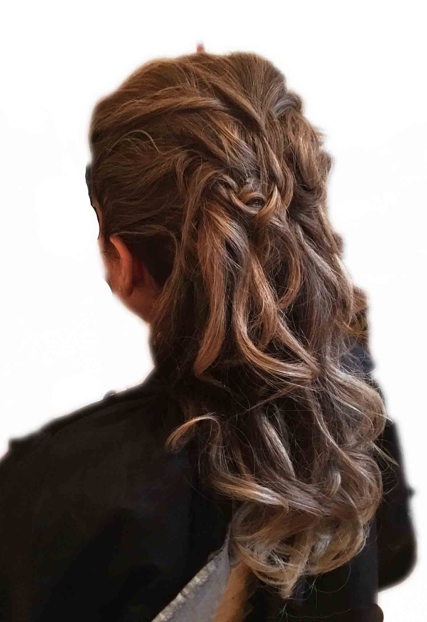 long hair romantic style with twists at ftmakeup london