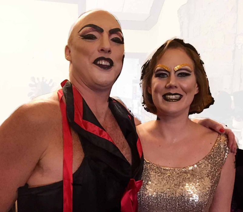 Classic Drag with glitter eyebrows couple