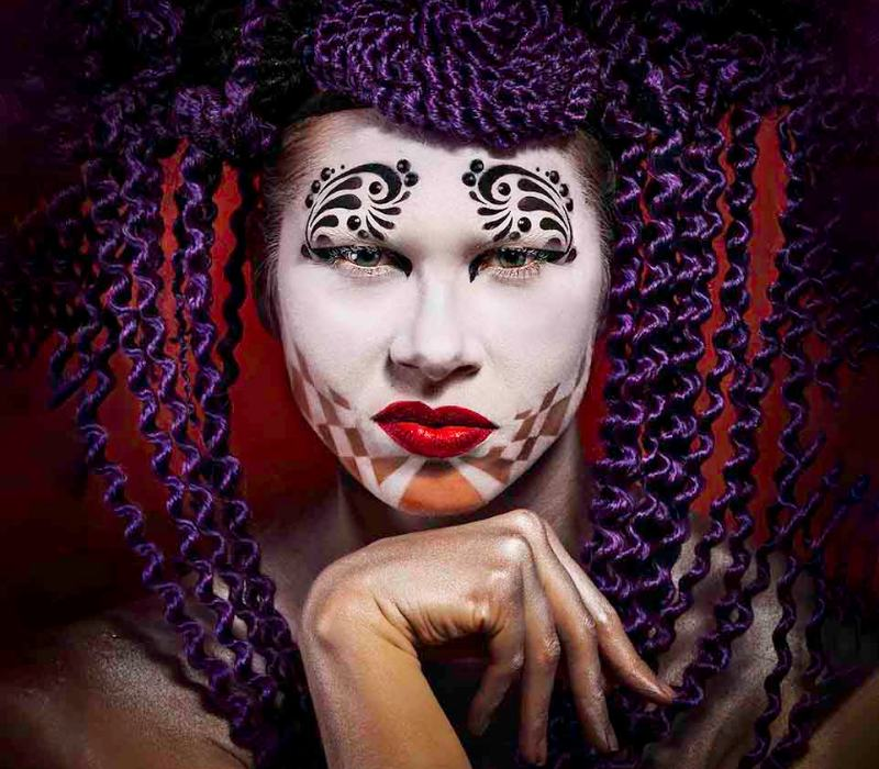 harlequin conceptual art cover front page by creative makeup artist FT
