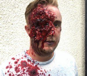 Sfx makeup artist FT-gunshot wound to the head