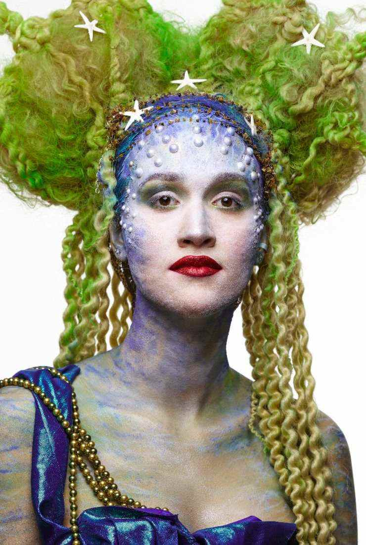 Sea queen body painting london services with wig design at FTMakeup london
